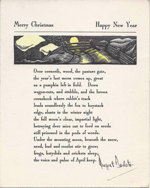 Print of an original August Derleth Christmas card