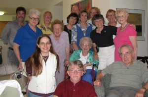 Betty Ren Wright (seated in the middle) surrounded by fellow members of Allied Authors at a recent meeting she hosted.