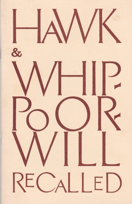 "Cover of ""Hawk & Whippoorwill Recalled"""